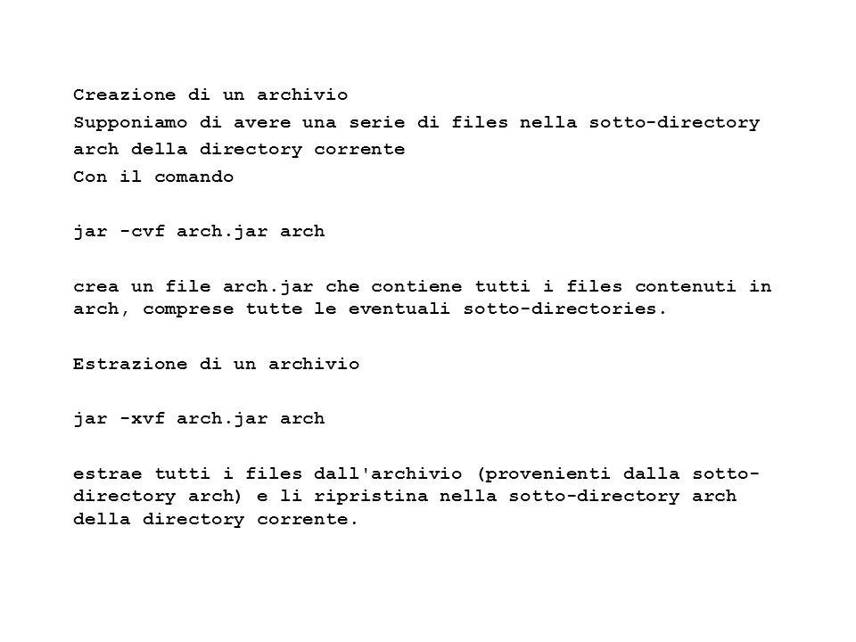 Fisica Computazionale I - 318 Creazione di un archivio Supponiamo di avere una serie di files nella sotto-directory arch della directory corrente Con