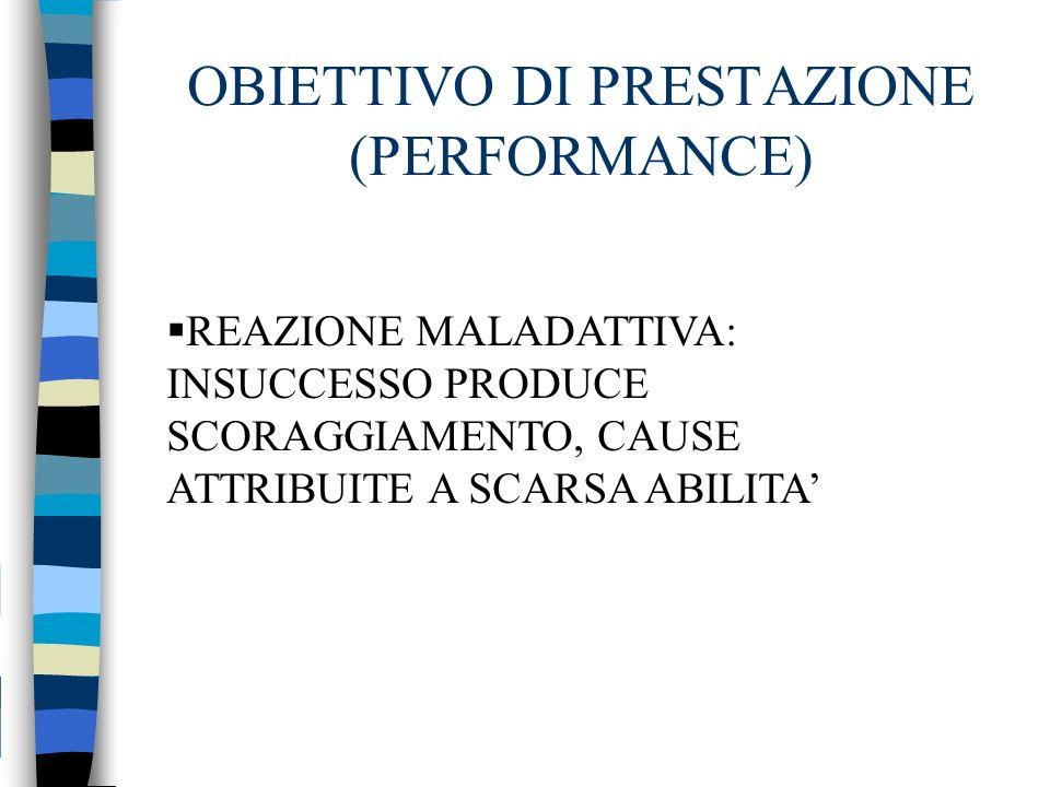 REAZIONE MALADATTIVA: INSUCCESSO PRODUCE SCORAGGIAMENTO, CAUSE ATTRIBUITE A SCARSA ABILITA OBIETTIVO DI PRESTAZIONE (PERFORMANCE)