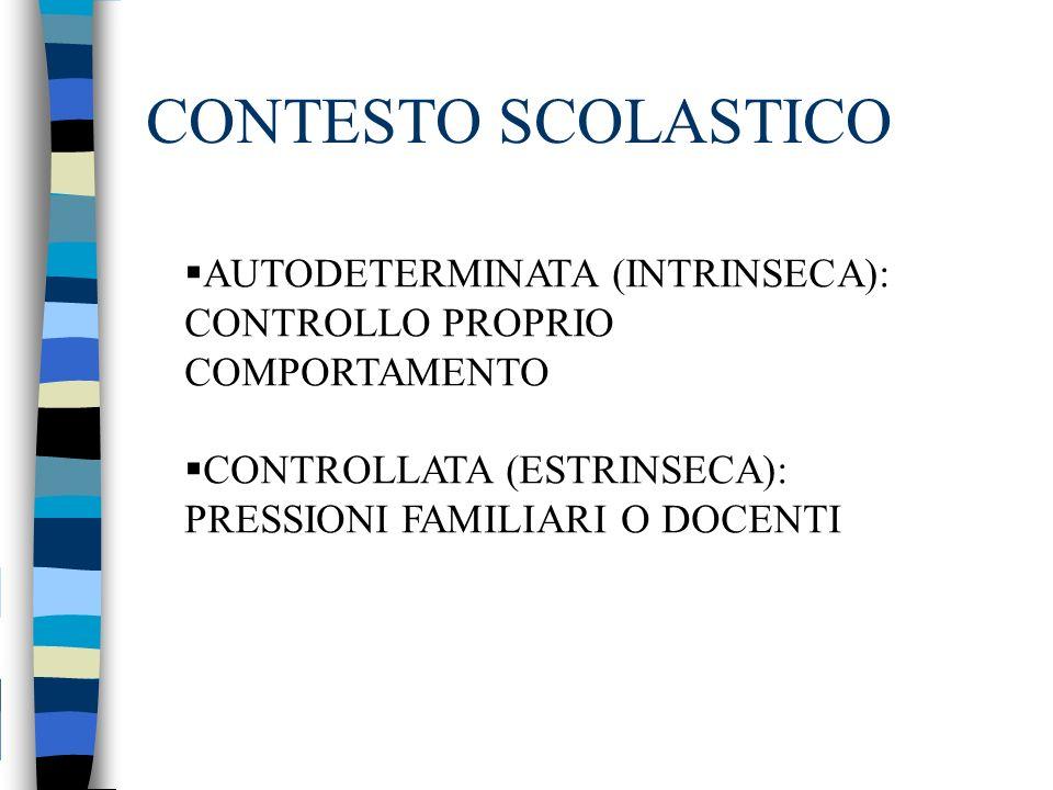 CONTESTO SCOLASTICO AUTODETERMINATA (INTRINSECA): CONTROLLO PROPRIO COMPORTAMENTO CONTROLLATA (ESTRINSECA): PRESSIONI FAMILIARI O DOCENTI