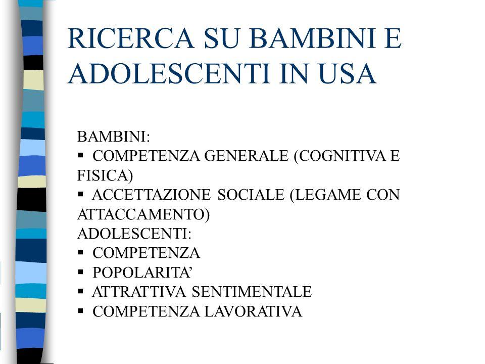 RICERCA SU BAMBINI E ADOLESCENTI IN USA BAMBINI: COMPETENZA GENERALE (COGNITIVA E FISICA) ACCETTAZIONE SOCIALE (LEGAME CON ATTACCAMENTO) ADOLESCENTI: