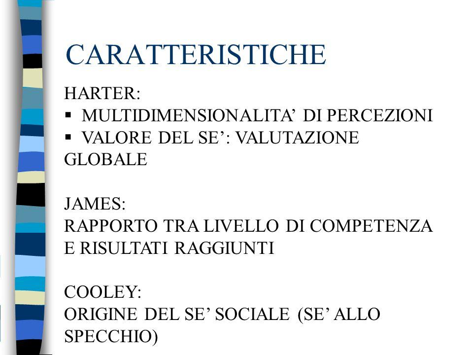 CARATTERISTICHE HARTER: MULTIDIMENSIONALITA DI PERCEZIONI VALORE DEL SE: VALUTAZIONE GLOBALE JAMES: RAPPORTO TRA LIVELLO DI COMPETENZA E RISULTATI RAG