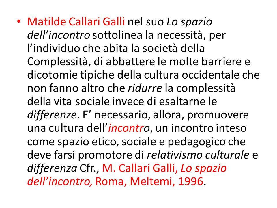 Matilde Callari Galli nel suo Lo spazio dellincontro sottolinea la necessità, per lindividuo che abita la società della Complessità, di abbattere le m
