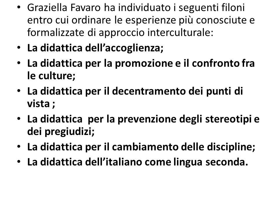 Graziella Favaro ha individuato i seguenti filoni entro cui ordinare le esperienze più conosciute e formalizzate di approccio interculturale: La didat