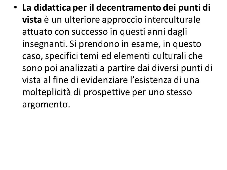 La didattica per il decentramento dei punti di vista è un ulteriore approccio interculturale attuato con successo in questi anni dagli insegnanti. Si