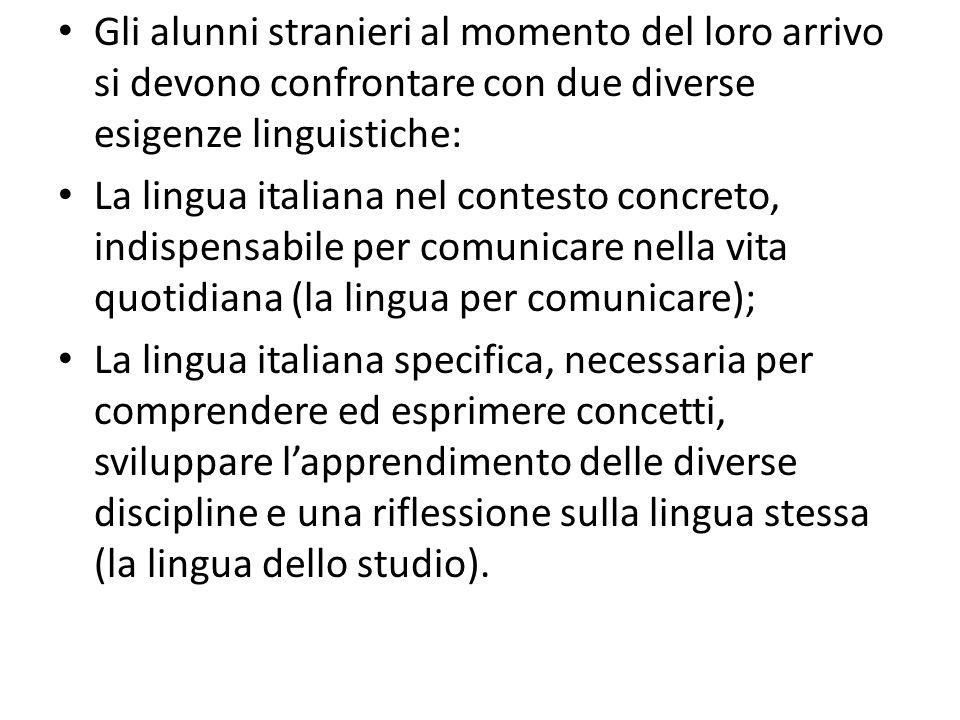 Gli alunni stranieri al momento del loro arrivo si devono confrontare con due diverse esigenze linguistiche: La lingua italiana nel contesto concreto,