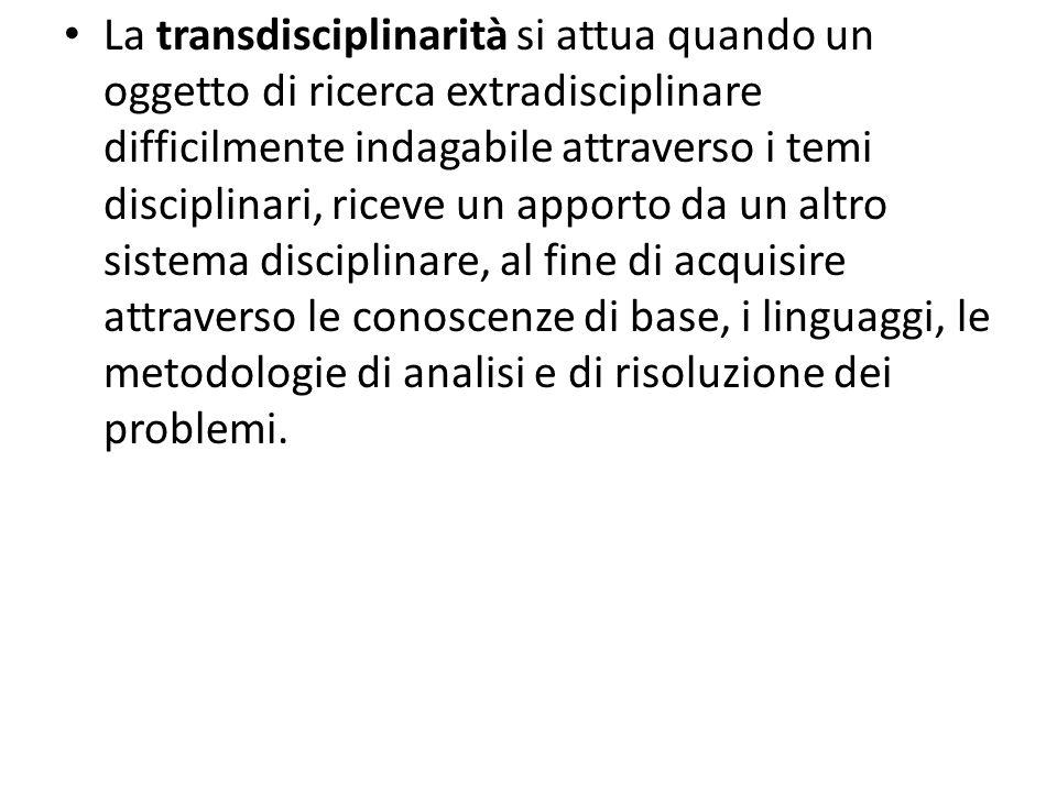 La transdisciplinarità si attua quando un oggetto di ricerca extradisciplinare difficilmente indagabile attraverso i temi disciplinari, riceve un appo
