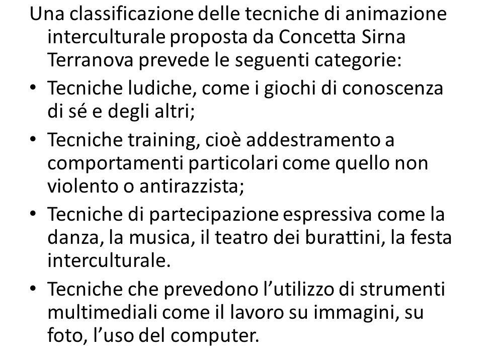 Una classificazione delle tecniche di animazione interculturale proposta da Concetta Sirna Terranova prevede le seguenti categorie: Tecniche ludiche,