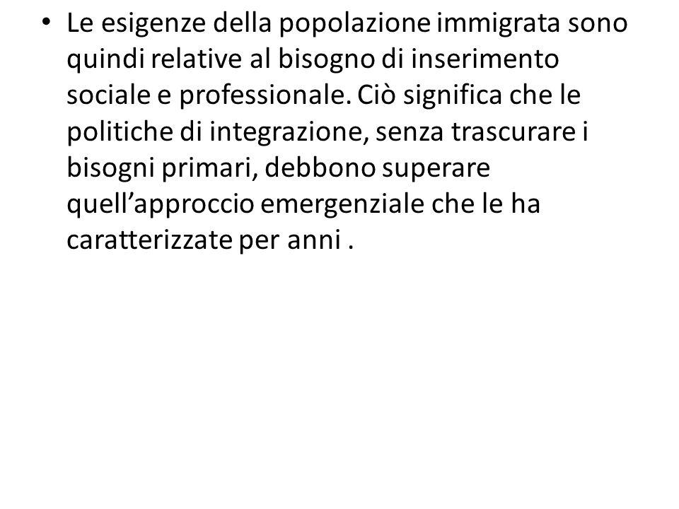 Le esigenze della popolazione immigrata sono quindi relative al bisogno di inserimento sociale e professionale. Ciò significa che le politiche di inte
