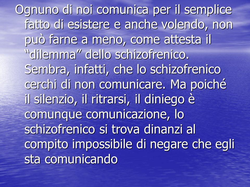 Ognuno di noi comunica per il semplice fatto di esistere e anche volendo, non può farne a meno, come attesta il dilemma dello schizofrenico. Sembra, i