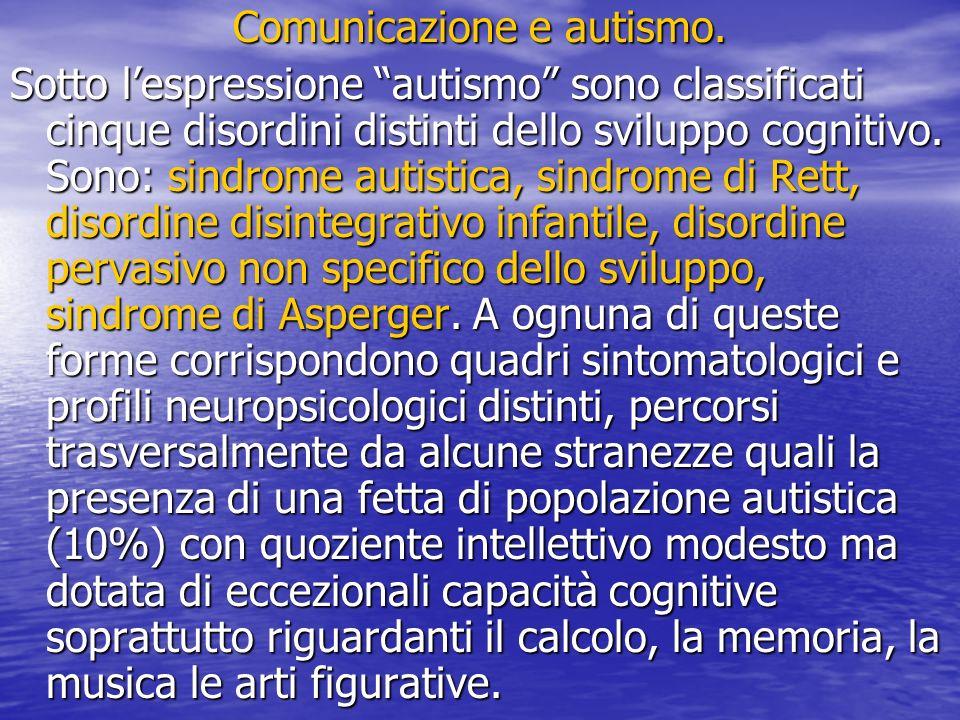 Comunicazione e autismo. Sotto lespressione autismo sono classificati cinque disordini distinti dello sviluppo cognitivo. Sono: sindrome autistica, si