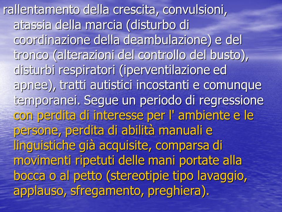 rallentamento della crescita, convulsioni, atassia della marcia (disturbo di coordinazione della deambulazione) e del tronco (alterazioni del controll