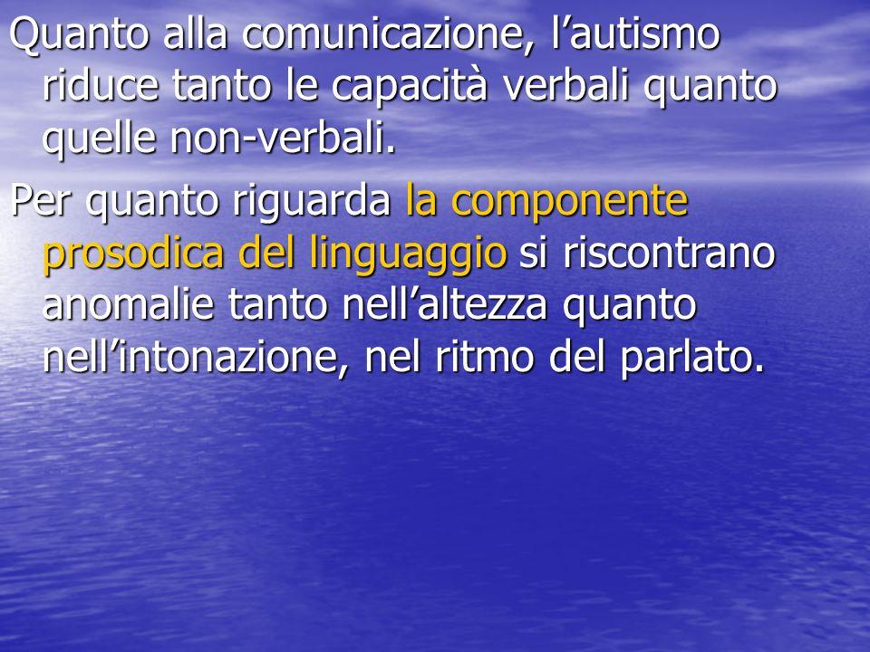 Quanto alla comunicazione, lautismo riduce tanto le capacità verbali quanto quelle non-verbali. Per quanto riguarda la componente prosodica del lingua