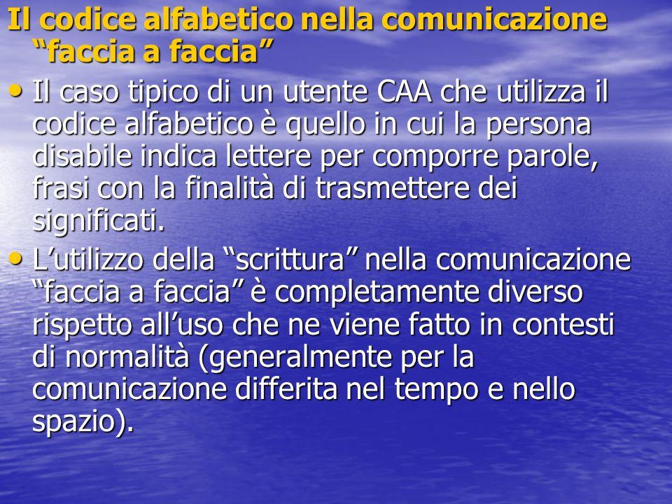 Il codice alfabetico nella comunicazione faccia a faccia Il caso tipico di un utente CAA che utilizza il codice alfabetico è quello in cui la persona