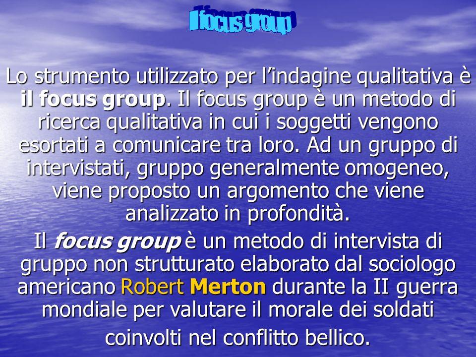 Lo strumento utilizzato per lindagine qualitativa è il focus group. Il focus group è un metodo di ricerca qualitativa in cui i soggetti vengono esorta