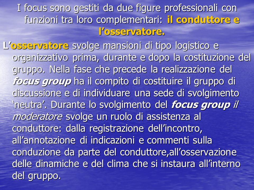 I focus sono gestiti da due figure professionali con funzioni tra loro complementari: il conduttore e losservatore.