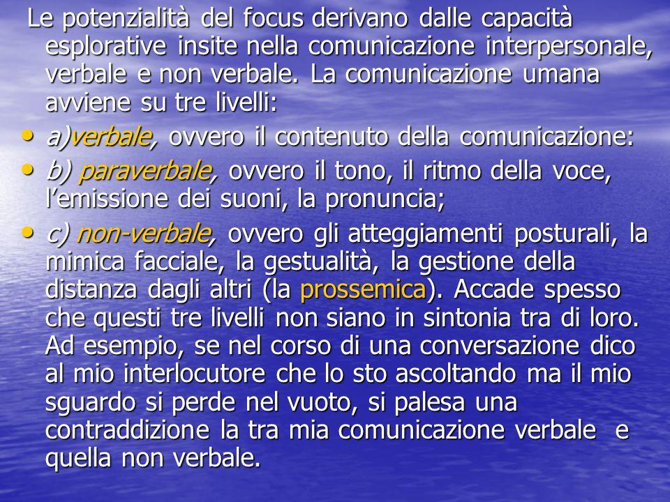Le potenzialità del focus derivano dalle capacità esplorative insite nella comunicazione interpersonale, verbale e non verbale.