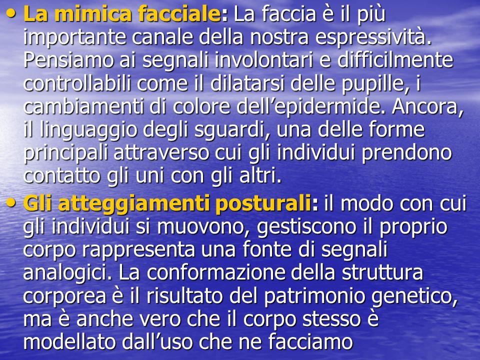 La mimica facciale: La faccia è il più importante canale della nostra espressività. Pensiamo ai segnali involontari e difficilmente controllabili come