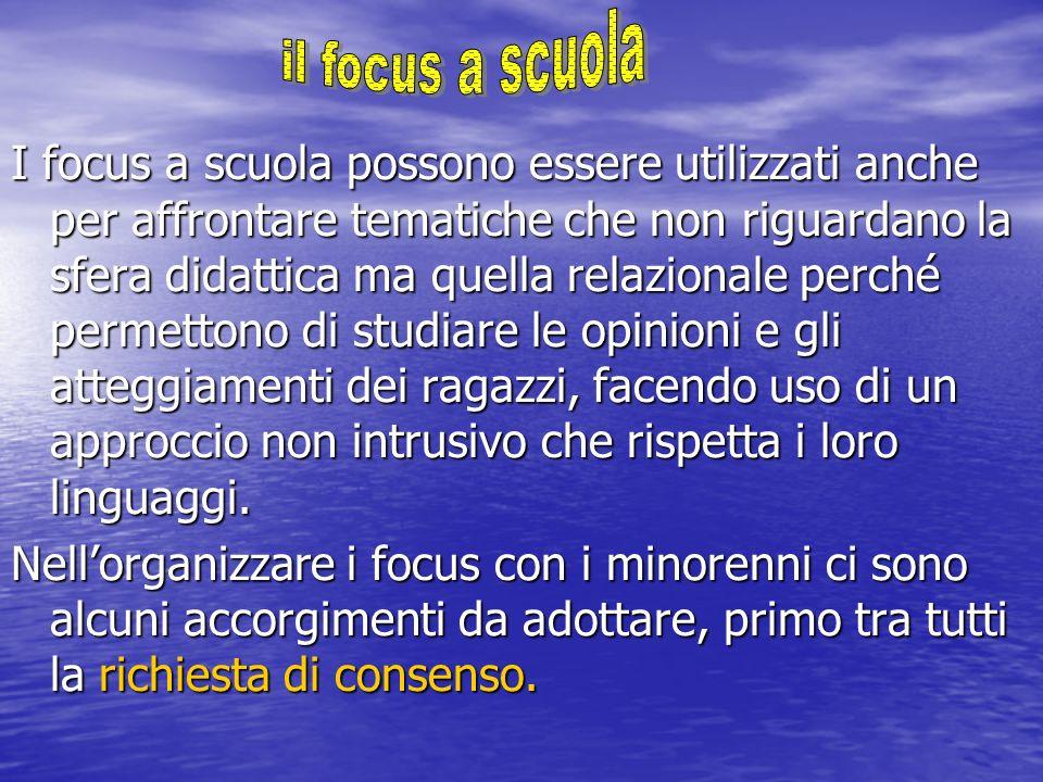 I focus a scuola possono essere utilizzati anche per affrontare tematiche che non riguardano la sfera didattica ma quella relazionale perché permetton