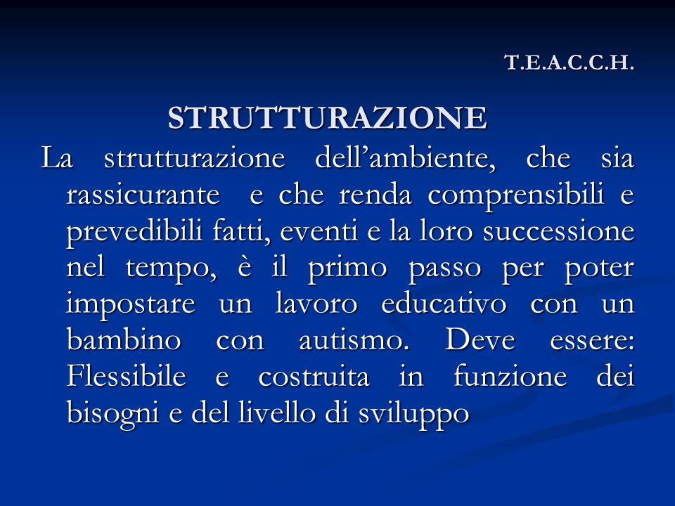 T.E.A.C.C.H. La strutturazione dellambiente, che sia rassicurante e che renda comprensibili e prevedibili fatti, eventi e la loro successione nel temp