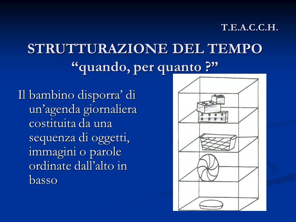 T.E.A.C.C.H. Ilbambino disporra di unagenda giornaliera costituita da una sequenza di oggetti, immagini o parole ordinate dallalto in basso STRUTTURAZ