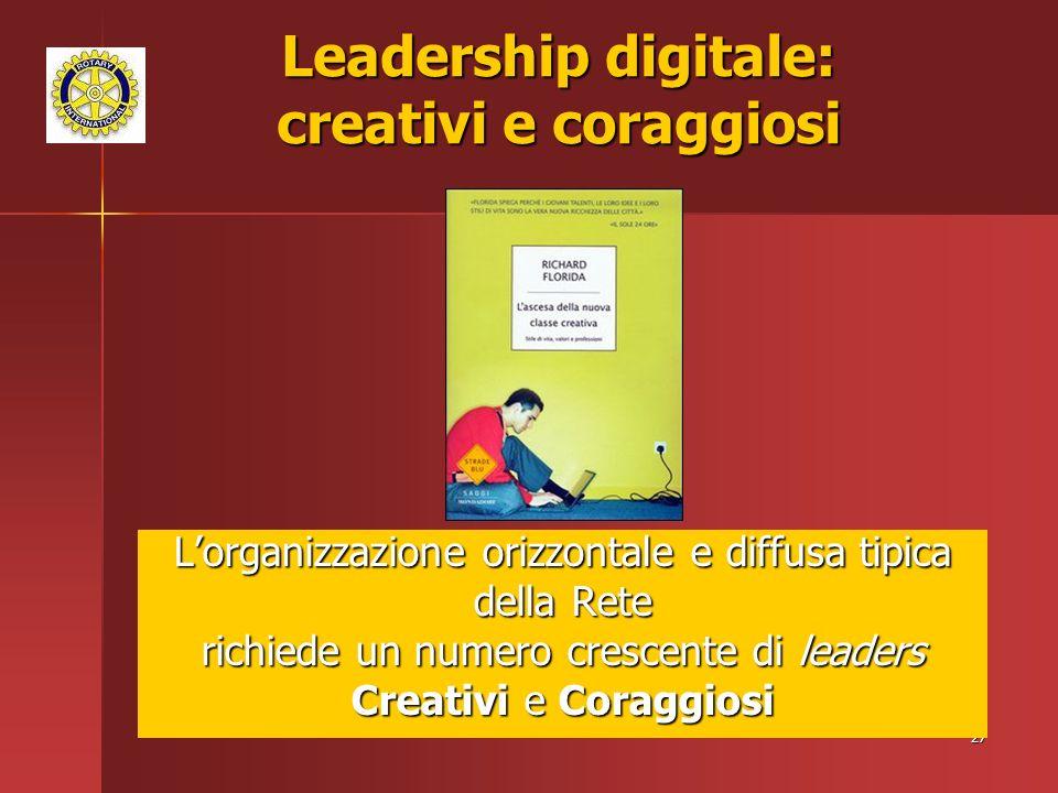 27 Lorganizzazione orizzontale e diffusa tipica della Rete richiede un numero crescente di leaders Creativi e Coraggiosi Leadership digitale: creativi e coraggiosi