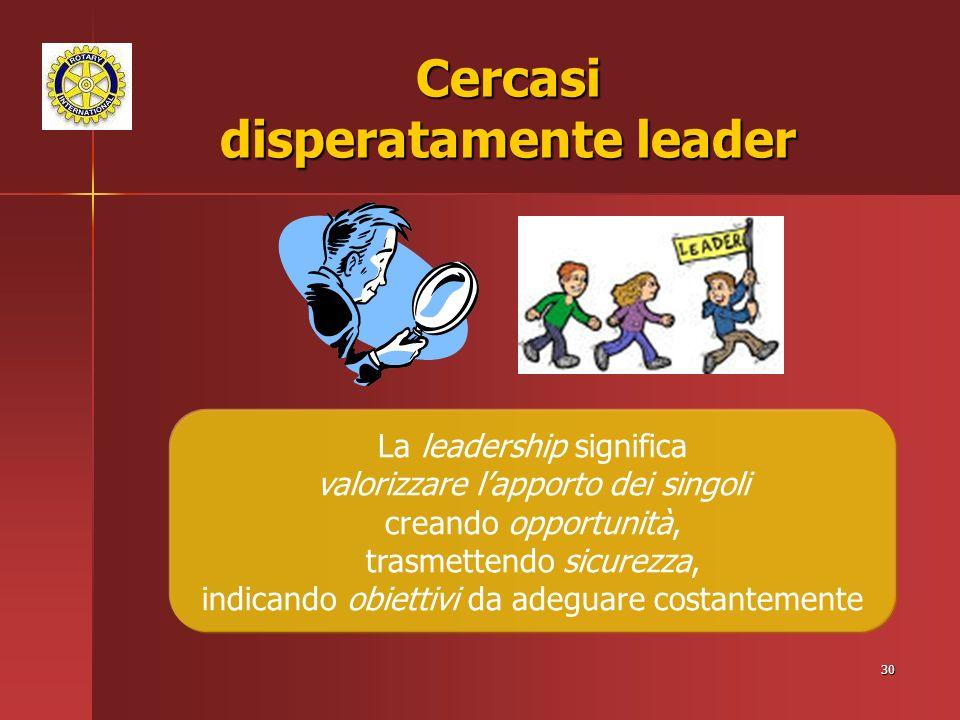 30 Cercasi disperatamente leader La leadership significa valorizzare lapporto dei singoli creando opportunità, trasmettendo sicurezza, indicando obiettivi da adeguare costantemente