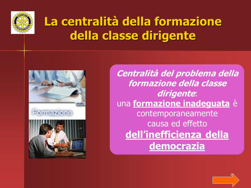 32 La centralità della formazione della classe dirigente Centralità del problema della formazione della classe dirigente: una formazione inadeguata è contemporaneamente causa ed effetto dellinefficienza della democrazia