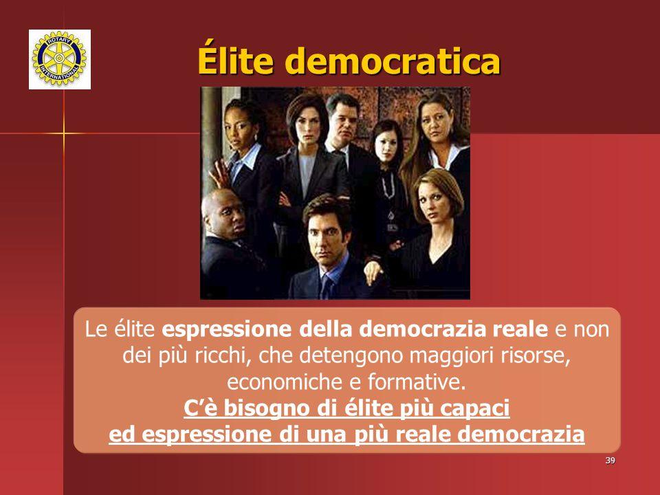 39 Élite democratica Le élite espressione della democrazia reale e non dei più ricchi, che detengono maggiori risorse, economiche e formative.