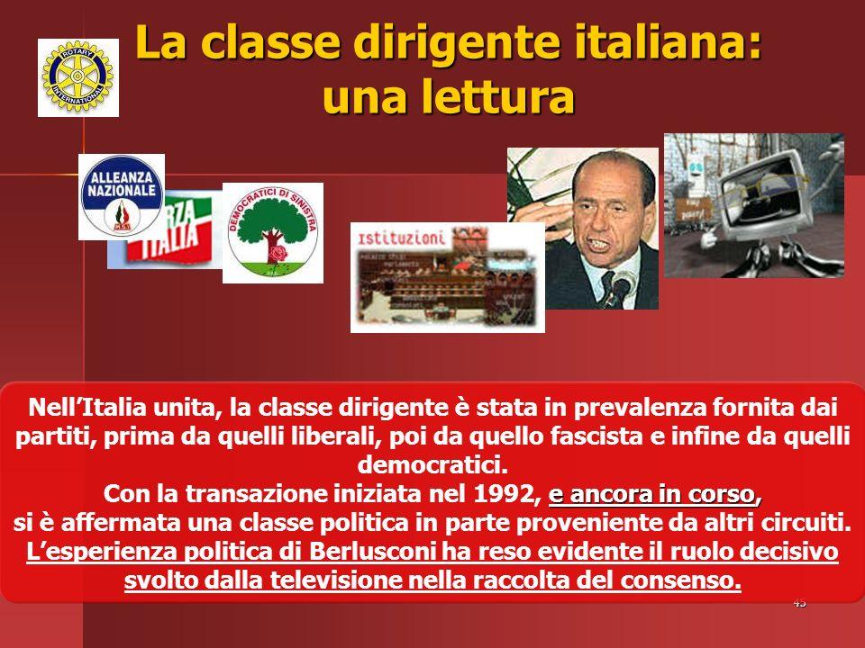 45 La classe dirigente italiana: una lettura NellItalia unita, la classe dirigente è stata in prevalenza fornita dai partiti, prima da quelli liberali, poi da quello fascista e infine da quelli democratici.