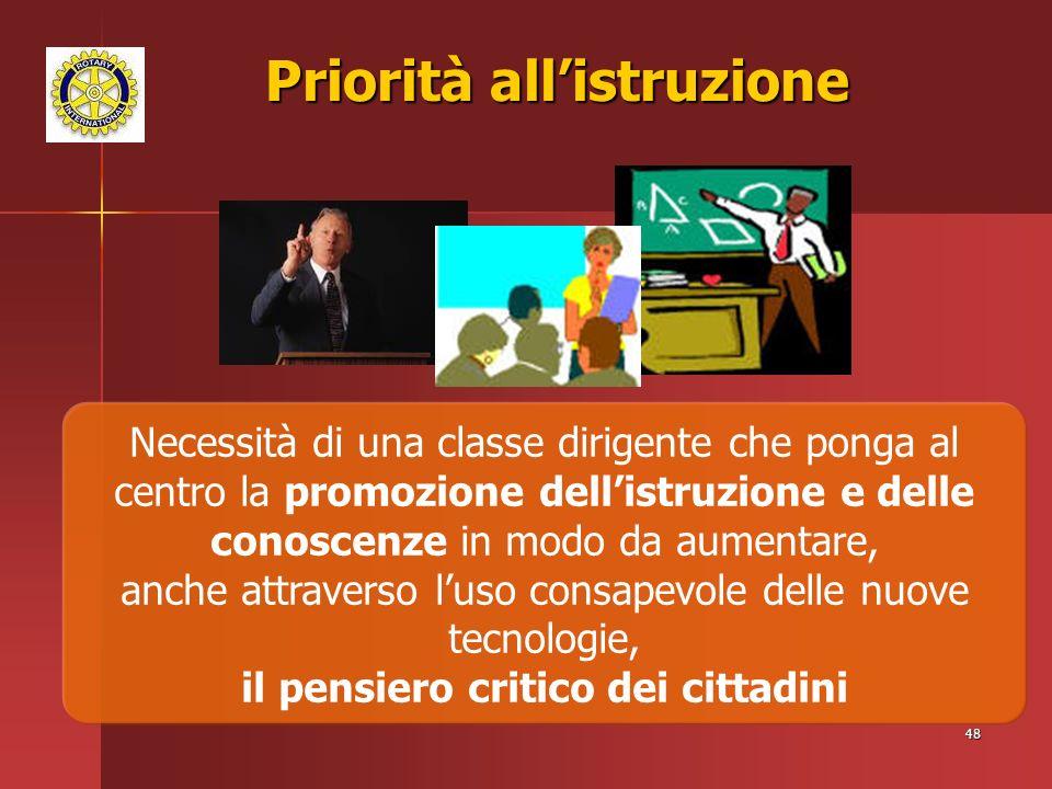 48 Priorità allistruzione Necessità di una classe dirigente che ponga al centro la promozione dellistruzione e delle conoscenze in modo da aumentare, anche attraverso luso consapevole delle nuove tecnologie, il pensiero critico dei cittadini