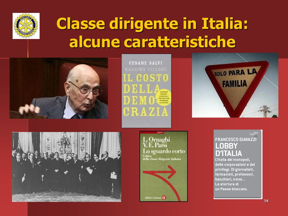 54 Classe dirigente in Italia: alcune caratteristiche