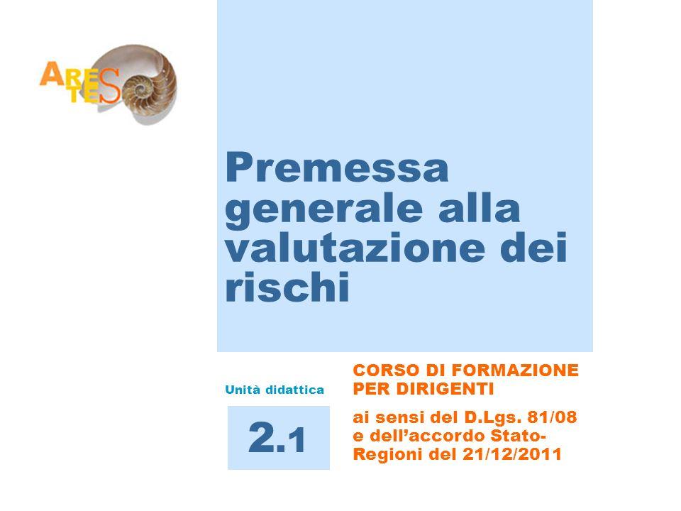 CORSO DI FORMAZIONE PER DIRIGENTI ai sensi del D.Lgs. 81/08 e dellaccordo Stato- Regioni del 21/12/2011 Premessa generale alla valutazione dei rischi