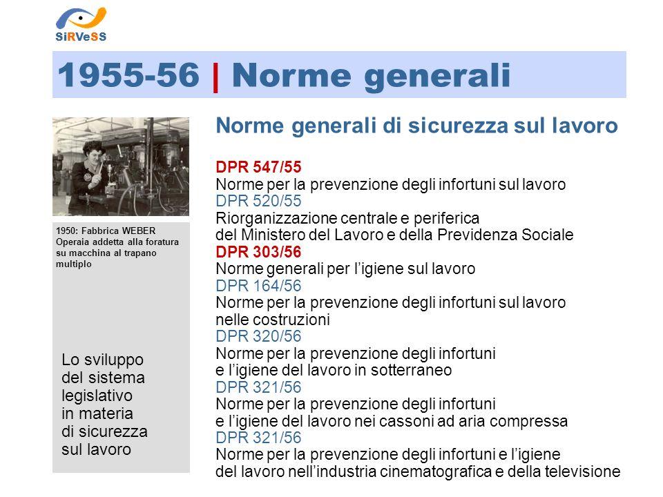 Lo sviluppo del sistema legislativo in materia di sicurezza sul lavoro 1955-56 | DPR 547/55 DPR 547/55 Norme per la prevenzione degli infortuni sul lavoro SiRVeSS Sommario Tit.