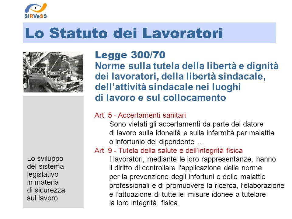 Lo sviluppo del sistema legislativo in materia di sicurezza sul lavoro Riforma Sanitaria LEGGE 833/78 Istituzione del Servizio Sanitario Nazionale Art.