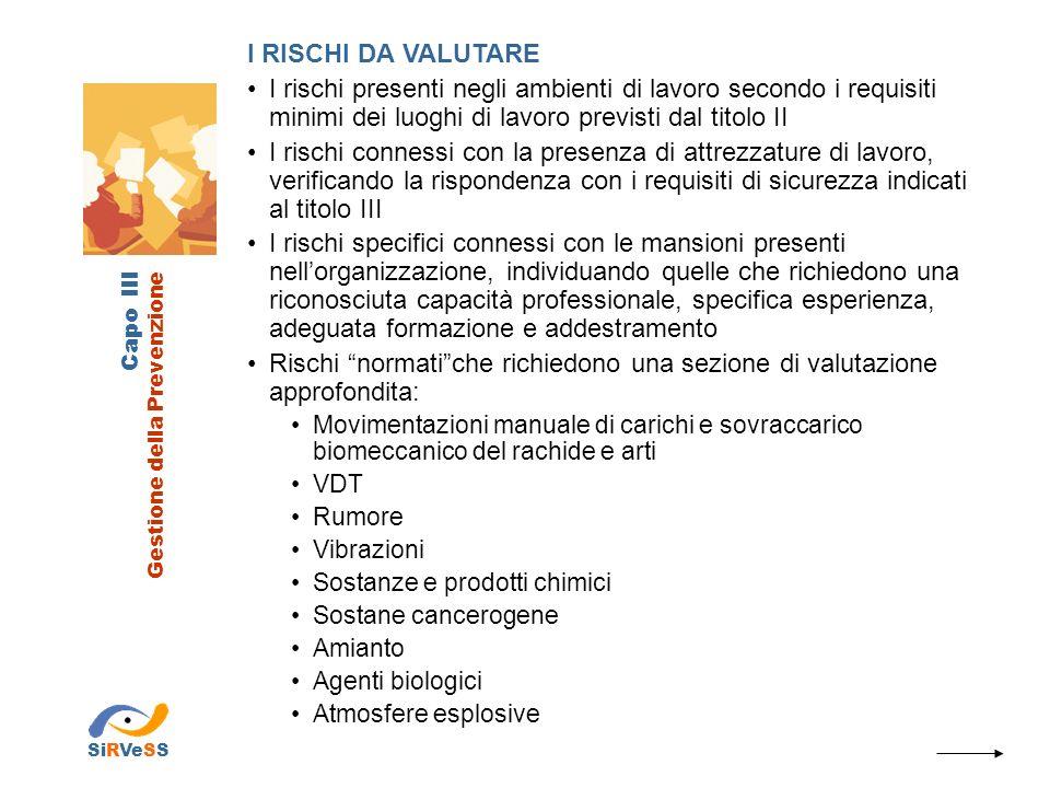 Capo III Gestione della Prevenzione SiRVeSS I NUOVI RISCHI DA VALUTARE Stress lavoro-correlato secondo accordo europeo 8 ottobre 2004 Rischi riguardanti le lavoratrici in stato di gravidanza secondo il D.Lgs.