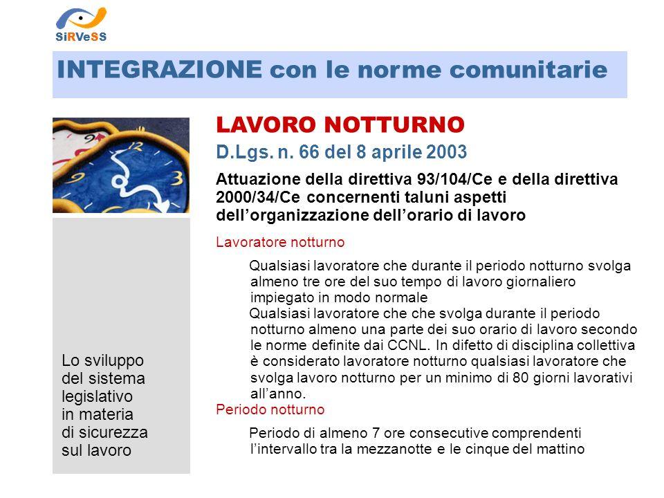 Lo sviluppo del sistema legislativo in materia di sicurezza sul lavoro LAVORO NOTTURNO D.Lgs. n. 66 del 8 aprile 2003 Attuazione della direttiva 93/10