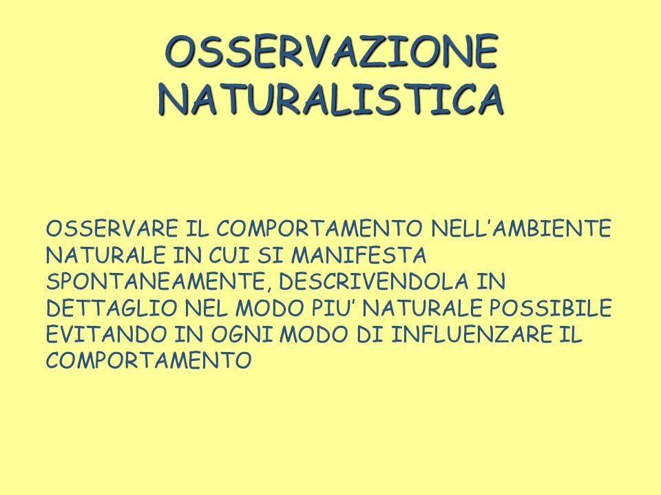 OSSERVAZIONE NATURALISTICA OSSERVARE IL COMPORTAMENTO NELLAMBIENTE NATURALE IN CUI SI MANIFESTA SPONTANEAMENTE, DESCRIVENDOLA IN DETTAGLIO NEL MODO PI