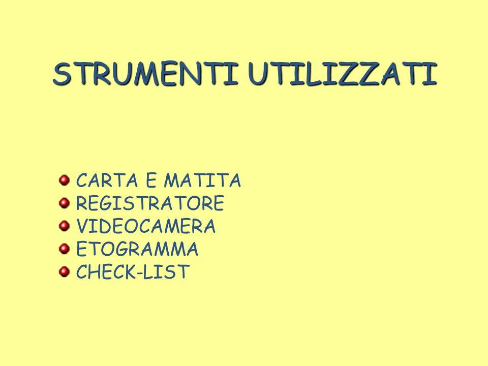 STRUMENTI UTILIZZATI CARTA E MATITA REGISTRATORE VIDEOCAMERA ETOGRAMMA CHECK-LIST