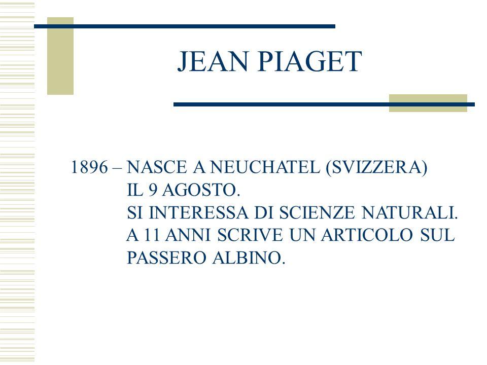 JEAN PIAGET 1896 – NASCE A NEUCHATEL (SVIZZERA) IL 9 AGOSTO.