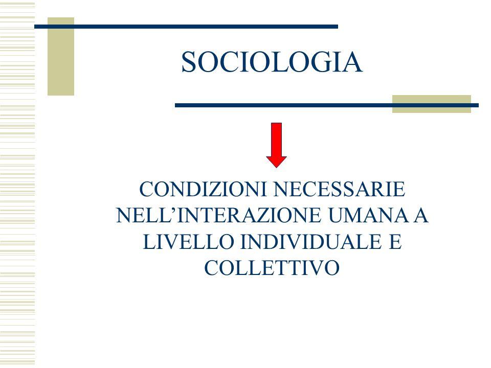 SOCIOLOGIA CONDIZIONI NECESSARIE NELLINTERAZIONE UMANA A LIVELLO INDIVIDUALE E COLLETTIVO