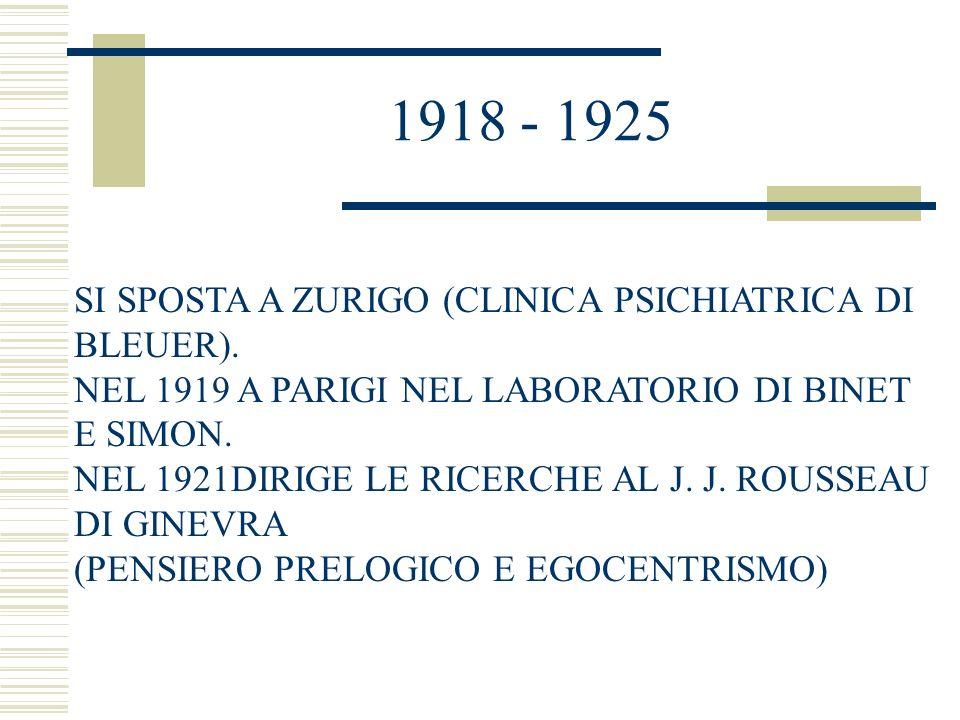1925 - 1929 LEZIONI DI PSICOLOGIA INFANTILE E STUDI FILOSOFICI SU CONOSCENZA E SPERIMENTALI SUL PENSIERO LOGICO.