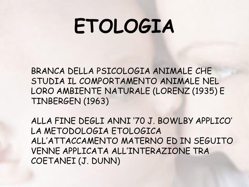 ETOLOGIA BRANCA DELLA PSICOLOGIA ANIMALE CHE STUDIA IL COMPORTAMENTO ANIMALE NEL LORO AMBIENTE NATURALE (LORENZ (1935) E TINBERGEN (1963) ALLA FINE DEGLI ANNI 70 J.