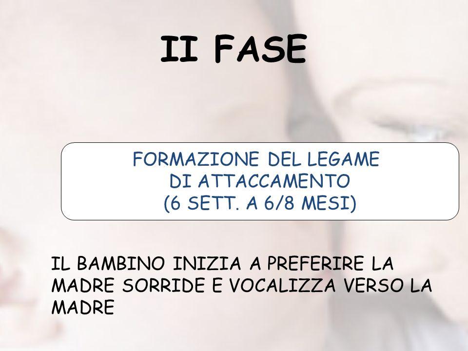 II FASE FORMAZIONE DEL LEGAME DI ATTACCAMENTO (6 SETT.