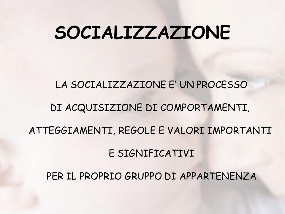 SOCIALIZZAZIONE LA SOCIALIZZAZIONE E UN PROCESSO DI ACQUISIZIONE DI COMPORTAMENTI, ATTEGGIAMENTI, REGOLE E VALORI IMPORTANTI E SIGNIFICATIVI PER IL PR