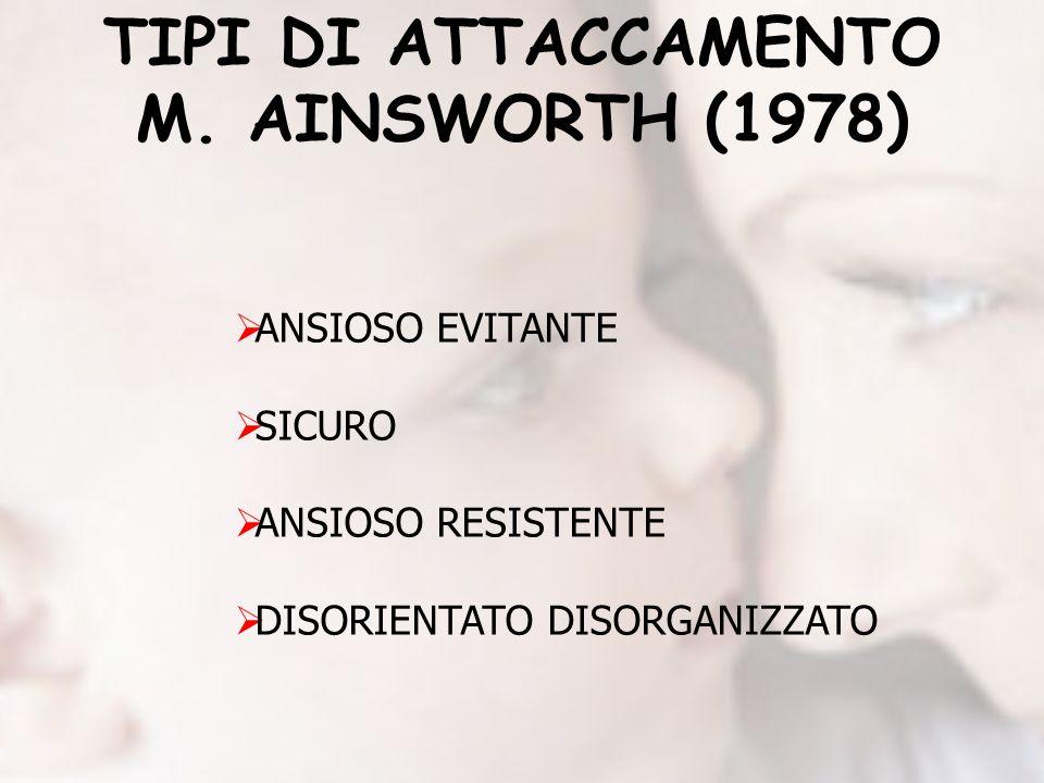 TIPI DI ATTACCAMENTO M. AINSWORTH (1978) ANSIOSO EVITANTE SICURO ANSIOSO RESISTENTE DISORIENTATO DISORGANIZZATO