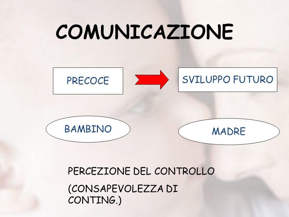 COMUNICAZIONE PRECOCE SVILUPPO FUTURO BAMBINO MADRE PERCEZIONE DEL CONTROLLO (CONSAPEVOLEZZA DI CONTING.)
