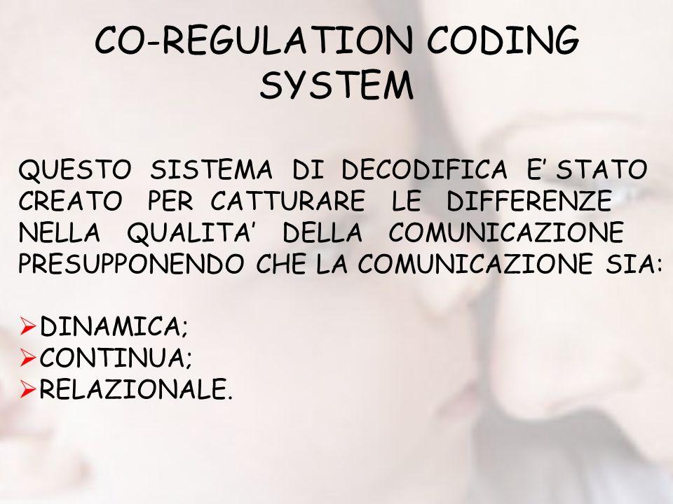 CO-REGULATION CODING SYSTEM QUESTO SISTEMA DI DECODIFICA E STATO CREATO PER CATTURARE LE DIFFERENZE NELLA QUALITA DELLA COMUNICAZIONE PRESUPPONENDO CHE LA COMUNICAZIONE SIA: DINAMICA; CONTINUA; RELAZIONALE.