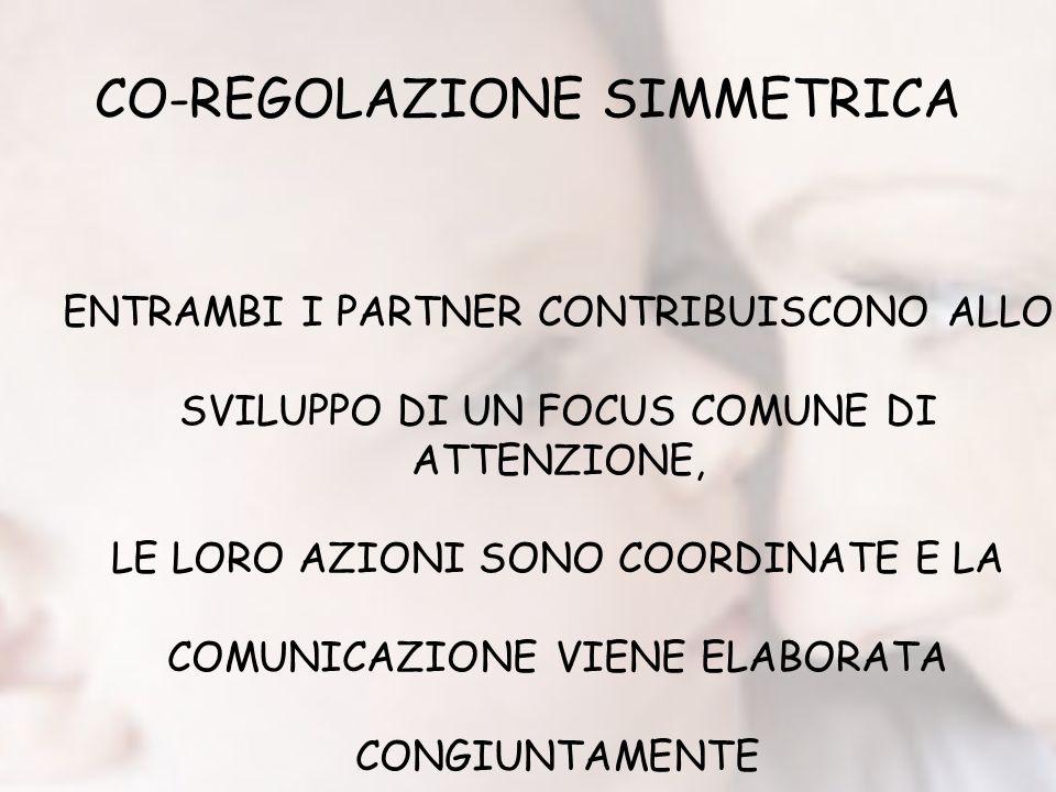 CO-REGOLAZIONE SIMMETRICA ENTRAMBI I PARTNER CONTRIBUISCONO ALLO SVILUPPO DI UN FOCUS COMUNE DI ATTENZIONE, LE LORO AZIONI SONO COORDINATE E LA COMUNICAZIONE VIENE ELABORATA CONGIUNTAMENTE