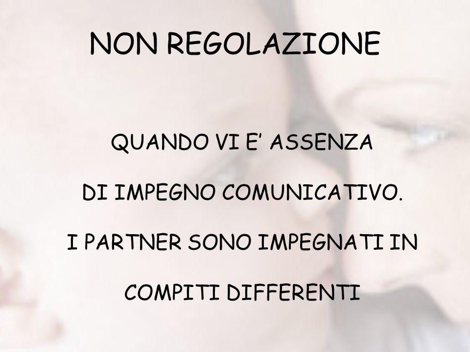 NON REGOLAZIONE QUANDO VI E ASSENZA DI IMPEGNO COMUNICATIVO. I PARTNER SONO IMPEGNATI IN COMPITI DIFFERENTI