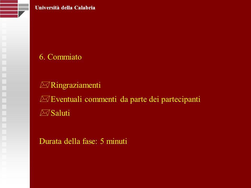 6. Commiato Ringraziamenti Eventuali commenti da parte dei partecipanti Saluti Durata della fase: 5 minuti Università della Calabria